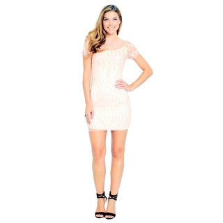 Sara Boo Women's Pink Mesh Sequined Shift Dress