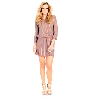 Sara Boo Women's Beige Viscose Sequined Loose-fit Dress
