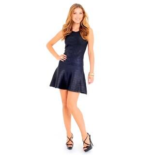 Sara Boo Women's Black/White Polyester Shimmery Skater Dress