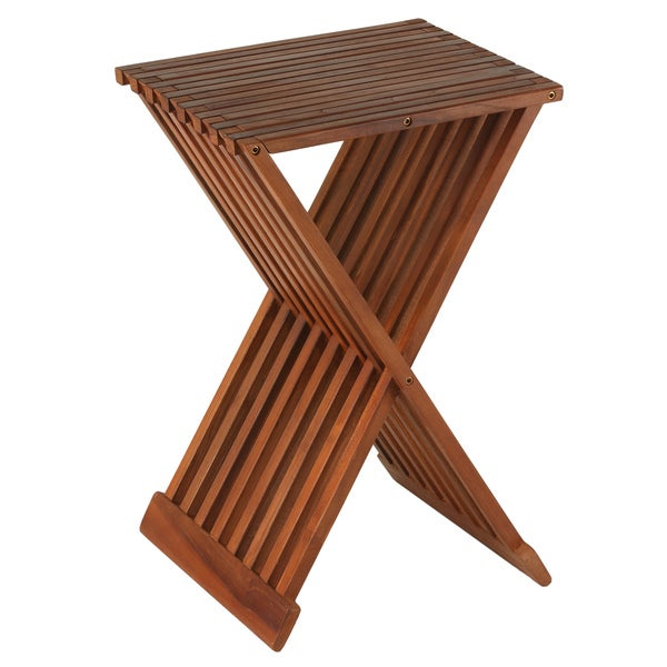 Bare Decor Solid Teak Wood 24-inch High Leaf Folding Counterstool