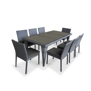 Urban Furnishing Grey PVC Wicker Outdoor Patio 9-piece Dining Set
