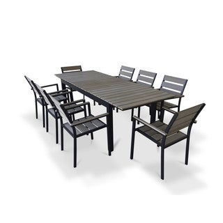 Urban Furnishing Grey Composite Wood Extendable Outdoor Patio 9-piece Dining Set