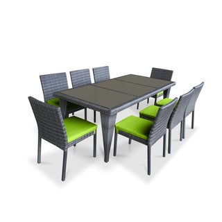 Urban Furnishing Green PVC Wicker Outdoor Patio 9-piece Dining Set