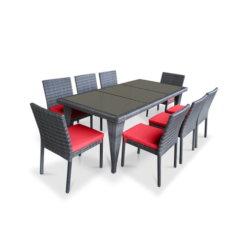Urban Furnishing Red PVC Wicker Outdoor Patio 9-piece Dining Set