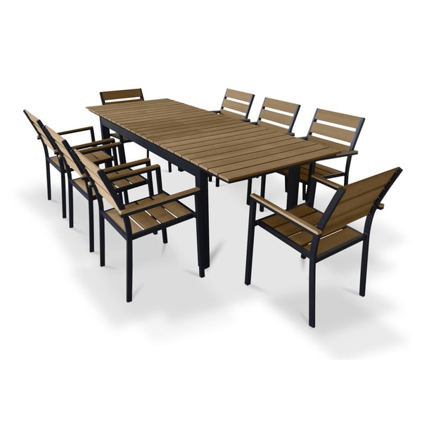 Composite Dining Set : Urban furnishing brown composite wood extendable outdoor