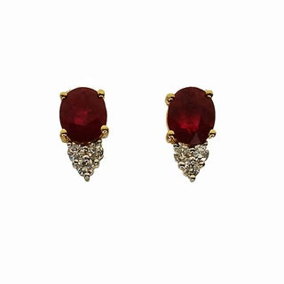 Kabella 14k Yellow Gold Oval Ruby Diamond Accent Stud Earrings