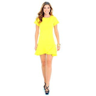 Sara Boo Women's Yellow Acrylic/Polyester/Spandex Solid Graphic Textured Drop Waist Dress|https://ak1.ostkcdn.com/images/products/12042880/P18913602.jpg?impolicy=medium