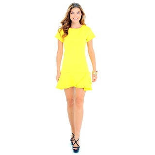 Sara Boo Women's Yellow Acrylic/Polyester/Spandex Solid Graphic Textured Drop Waist Dress
