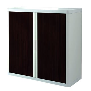 Paperflow EasyOffice White/Brown Plastic/Metal 41-inch 2-shelf Storage Cabinet