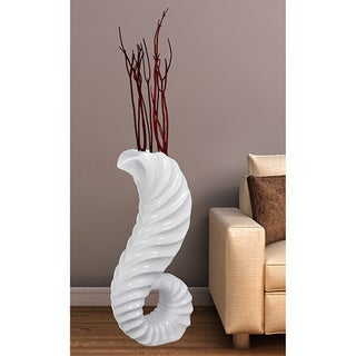 White Porcelain/Resin 32-inch Horn Floor Vase
