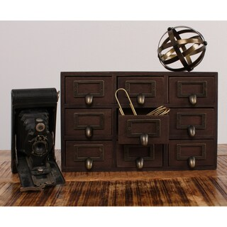Apothecary 7.5x12x4 Desktop Rustic Wood Drawer Set (Option: Brown)