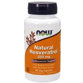 Now Foods Natural Resveratrol 200-milligram Capsules (60 Capsules)