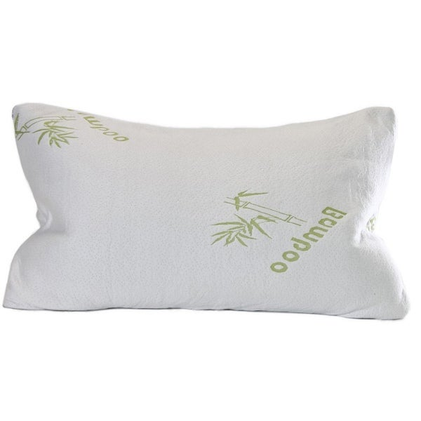 Premium Crushed Memory Foam Bamboo Pillow - Hypoallergenic Temperature-Controlled Bamboo Inner Cover - Bed Pillow, White