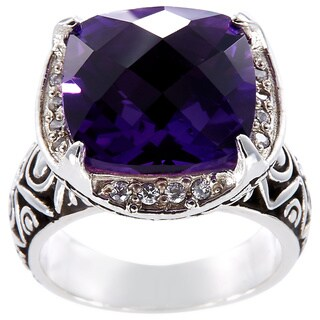 Handcrafted Sterling Silver Amethyst Cubic Zirconia Bali Ring (Indonesia)