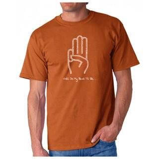Los Angeles Pop Art Men's Black Cotton Graphic T-shirt