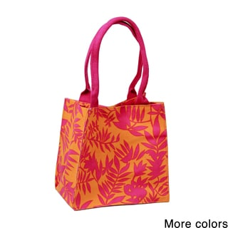 Handmade Saachi Indian Summer Tiny Tote Canvas Scattered Leaves Bag (India)