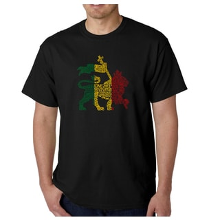 Los Angeles Pop Art Men's Rasta Lion One Love Cotton T-shirt