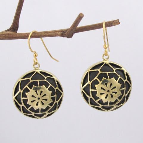 Handmade Brass and Wood Lotus Dangle Earrings by Spirit (Indonesia)
