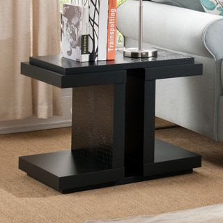 Furniture of America Croliz Modern Black Crocodile Textured End Table