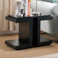 Furniture of America Croliz Modern Black Crocodile Textured End Table
