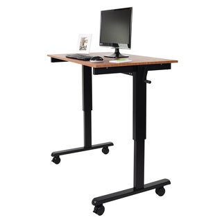 Luxor Powder-coated Black and Brown Laminate/Steel Desk