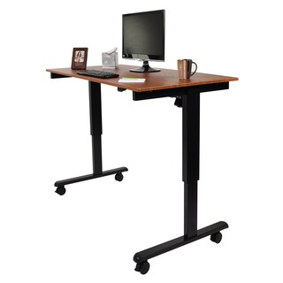 Luxor STANDE-60-BK/TK Black/Brown Laminate/Steel Desk