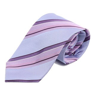 Verno Men's Purple and Pink Silk Diagonal Stripe Handmade Tie