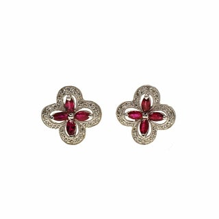 Kabella 18k White Gold Ruby with Diamond Accent Stud Earring