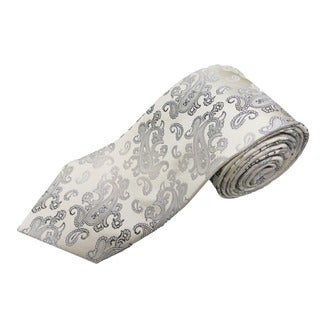 Verno Men's Brass and Silver Silk Diagonal Stripe Handmade Tie