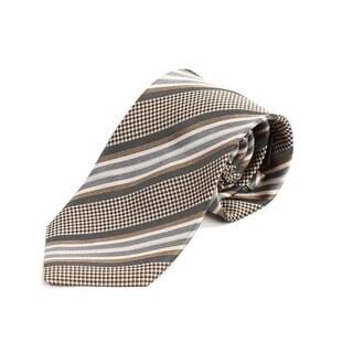 Verno Men's Tan Silk Paisley Ghost Stripe Handmade Tie