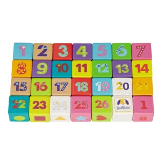 Boikido Wooden ABC Cubes 28 Piece Set