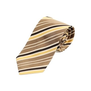 Verno Men's Brass/Gold/Black Silk Textured Stripe Handmade Tie