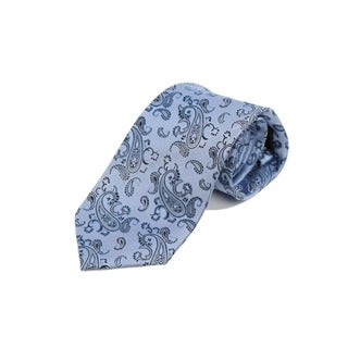 Verno Men's Blue Silk Paisley Striped Tie