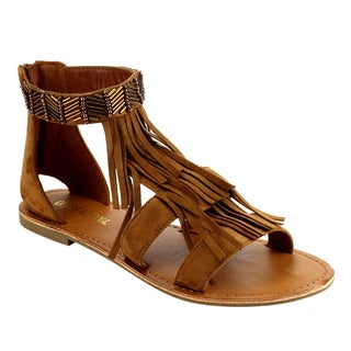 Olivia Miller Women's Tan Faux Suede Strappy Flat Sandals
