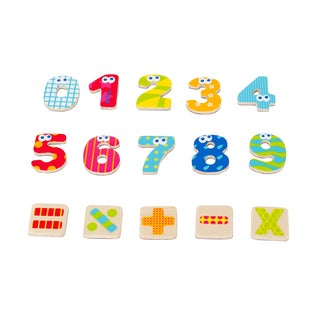 Wood Magnetic Numbers and Signs 55 Piece Set