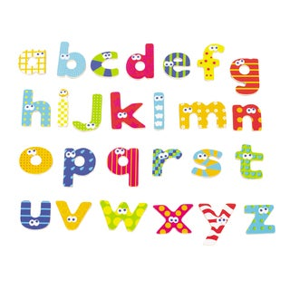 Wood Magnetic Lower Case Letter 59 Piece Set