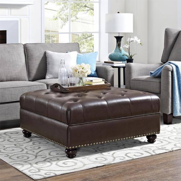 Amazing Shop Avenue Greene Laredo Brown Tufted Faux Leather Ottoman Machost Co Dining Chair Design Ideas Machostcouk