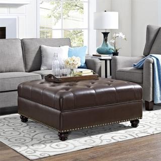 Avenue Greene Laredo Brown Tufted Faux Leather Ottoman