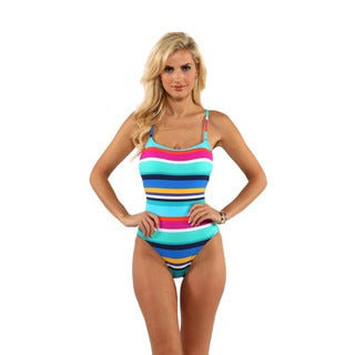 Anne Cole Rugby Stripe X-Back Lingerie One-Piece Swimsuit
