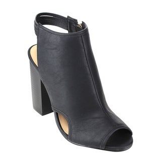 Reneeze Women's Black/Grey Faux Leather Block Heel Boots