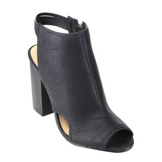 Reneeze Women's Black/Grey Faux Leather Block Heel Boots