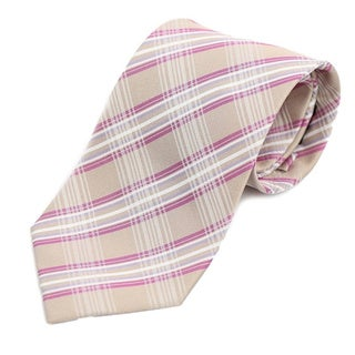 Verno Men's Tan Silk Glen Plaid Handmade Tie