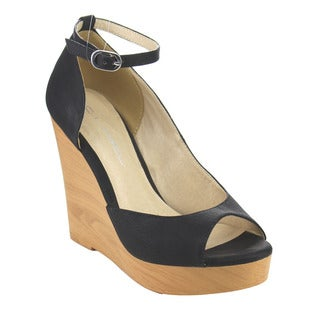 C Label Women's AC38 Faux-leather Ankle-strap D'orsay Platform High-heel Wedges