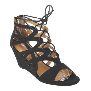 Pazzle Women's Black/Tan Faux Leather Strappy Wedge Sandal