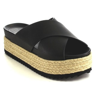 Nature Breeze Women's Beston Black Faux Leather Espadrille Slide Sandal