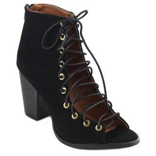 Beston Women's Beige/Black Faux Suede Lace-up Ankle Booties Heels