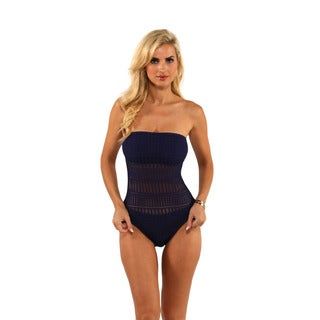 Anne Cole Crochet Wire-Free Bandeau One-Piece Swimsuit