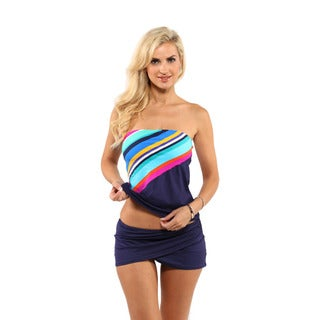 Anne Cole Running Stripe Bandeaukini with Sarong Skirt Swim Bottom