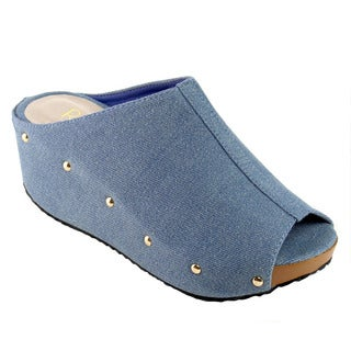 Refresh Women's Blue Fabric Slip-on Wedge Sandals