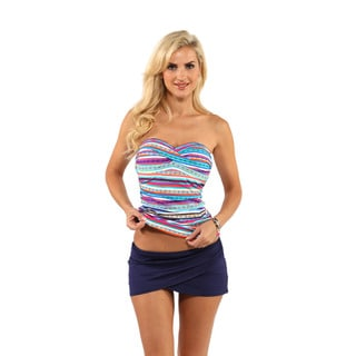 Anne Cole Central Stripe Bandeaukini Top with Sarong Skirt Bottom